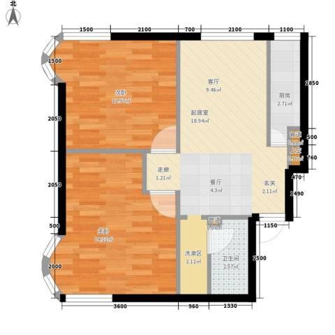 渤海明珠2室0厅1卫1厨71.00㎡户型图