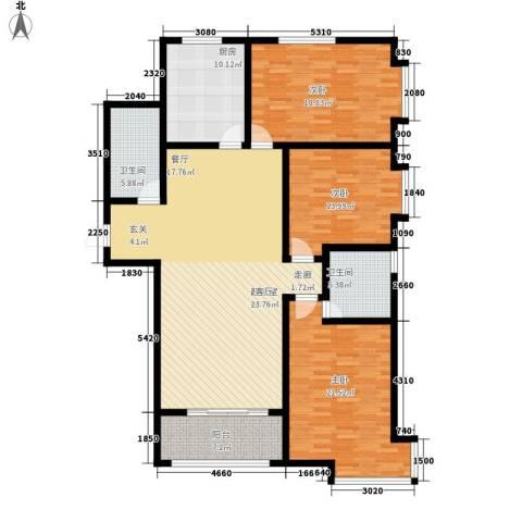 桃源山庄3室0厅2卫1厨146.16㎡户型图