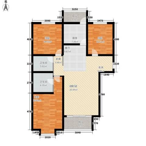 桃源山庄3室0厅2卫1厨138.23㎡户型图
