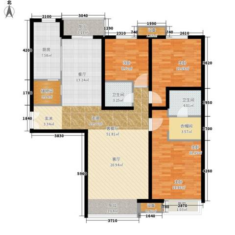 枫禾苑小区3室1厅2卫1厨166.00㎡户型图