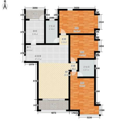 桃源山庄3室0厅2卫1厨155.58㎡户型图