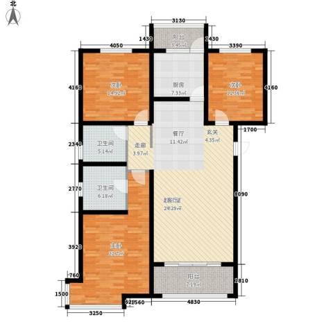 桃源山庄3室0厅2卫1厨139.04㎡户型图