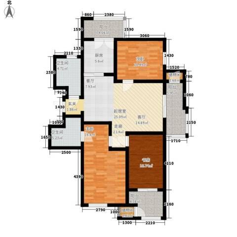 云锦蓝庭3室0厅2卫1厨137.00㎡户型图