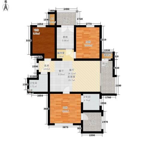云锦蓝庭3室0厅2卫1厨125.00㎡户型图