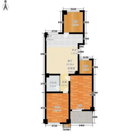 云锦蓝庭2室0厅1卫1厨107.00㎡户型图