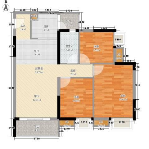 富力城时光里3室0厅1卫1厨89.00㎡户型图