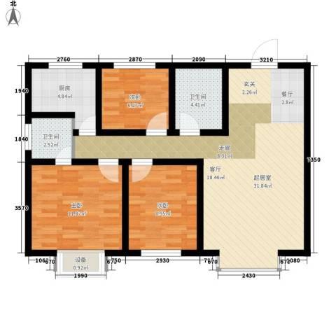东城翡翠湾3室0厅2卫1厨109.00㎡户型图