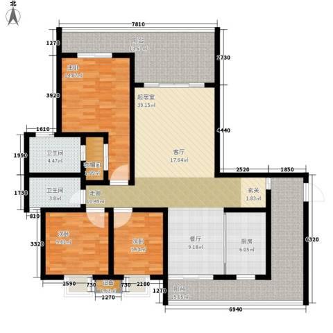 保利国际高尔夫公馆3室0厅2卫1厨136.00㎡户型图