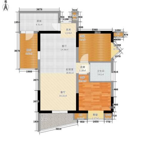 西城镜园2室0厅1卫1厨100.00㎡户型图