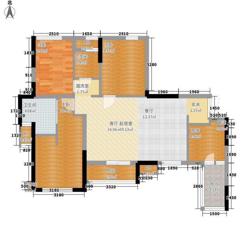 合能璞丽89.00㎡一期1号楼标准层A2户型
