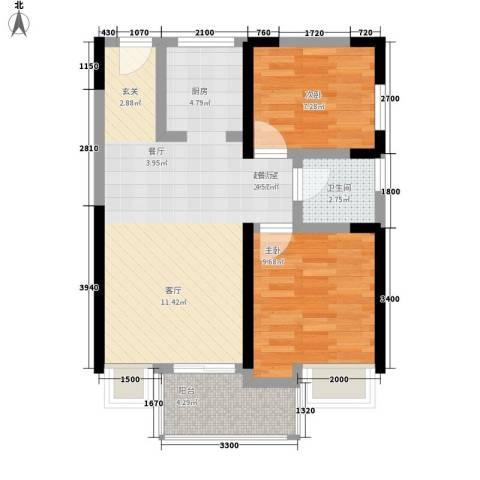 鄂高书香门第2室0厅1卫0厨74.00㎡户型图