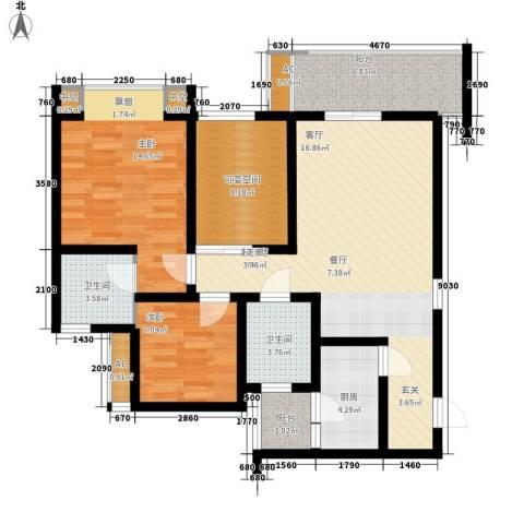 佳华世纪新城2室0厅2卫1厨117.00㎡户型图
