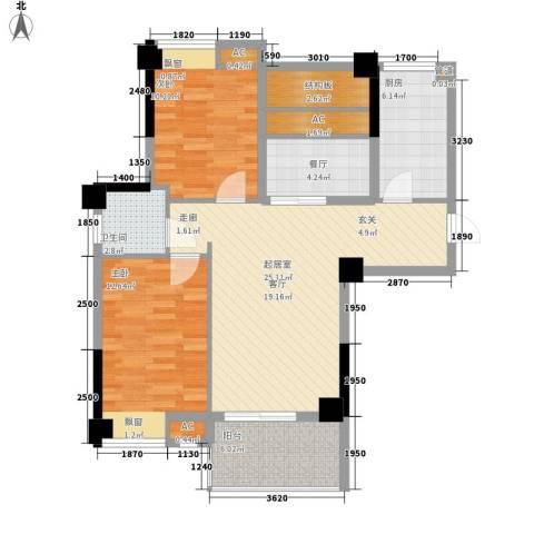 梅塘花园2室1厅1卫1厨105.00㎡户型图