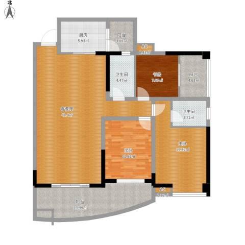 凯丽景湖三期3室1厅2卫1厨161.00㎡户型图