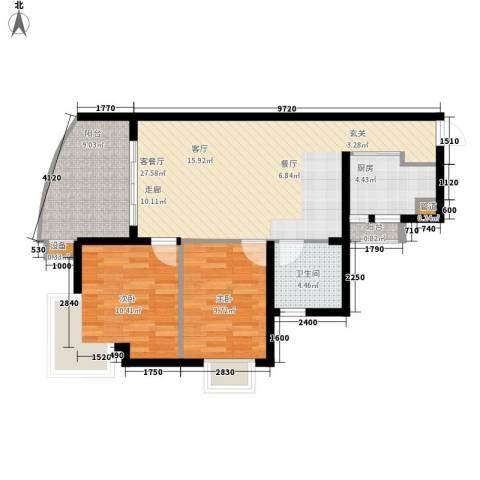 东海福苑2室1厅1卫1厨77.00㎡户型图