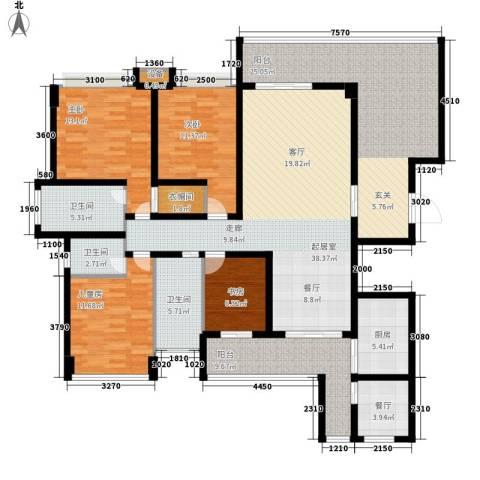 保利国际高尔夫公馆4室1厅3卫1厨163.00㎡户型图