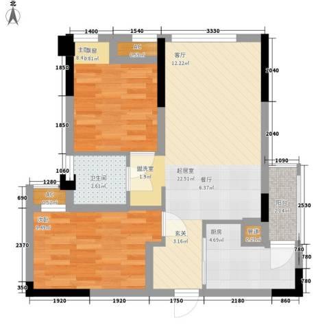 合能璞丽2室0厅1卫1厨64.00㎡户型图