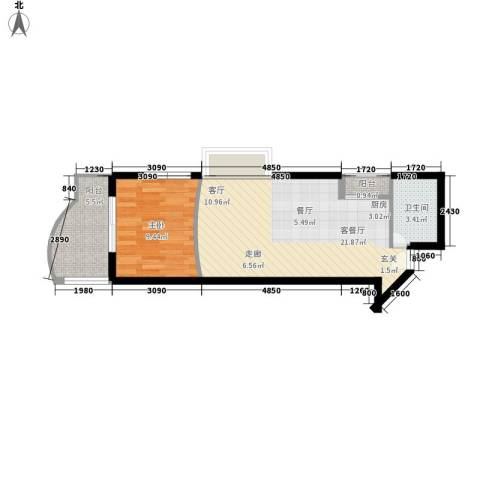 东海福苑1室1厅1卫0厨48.00㎡户型图