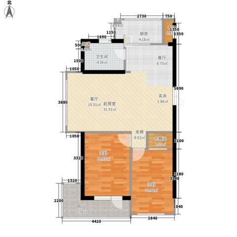 锦绣公馆2室0厅1卫1厨100.00㎡户型图