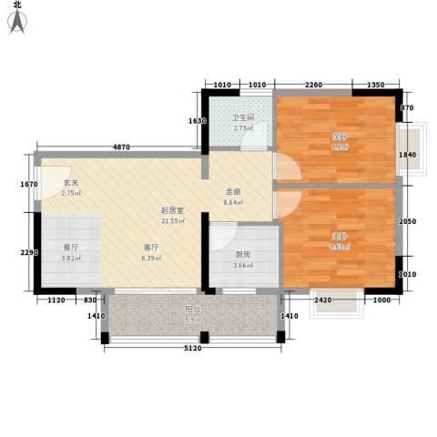 金领中心2室0厅1卫1厨74.00㎡户型图
