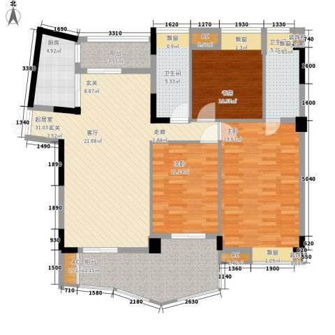 流星花园3室0厅2卫1厨125.00㎡户型图