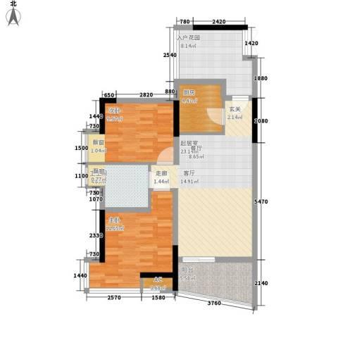 流星花园2室0厅1卫1厨125.00㎡户型图