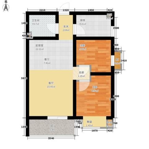 国宾豪庭2室0厅1卫1厨53.00㎡户型图