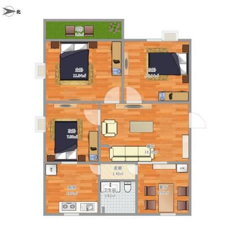 信和苑3室2厅1卫1厨88.00㎡户型图