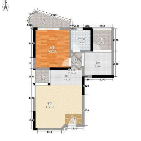 鹿茵华庭1室1厅1卫1厨67.00㎡户型图