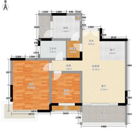 怡然酒店公寓2室0厅1卫1厨87.00㎡户型图