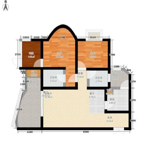 南方新城香榭里西苑3室1厅2卫1厨92.00㎡户型图