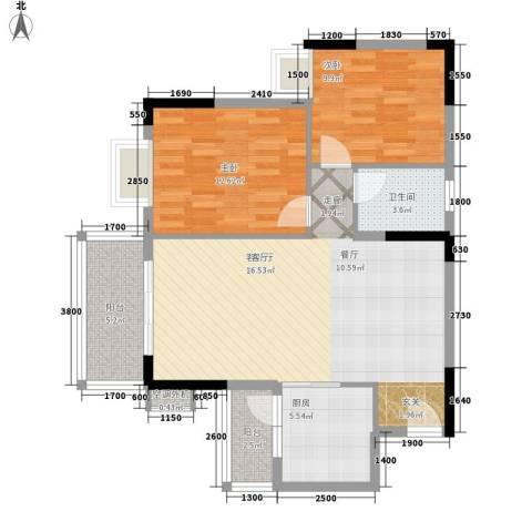 海尚绿洲2室1厅1卫1厨90.00㎡户型图