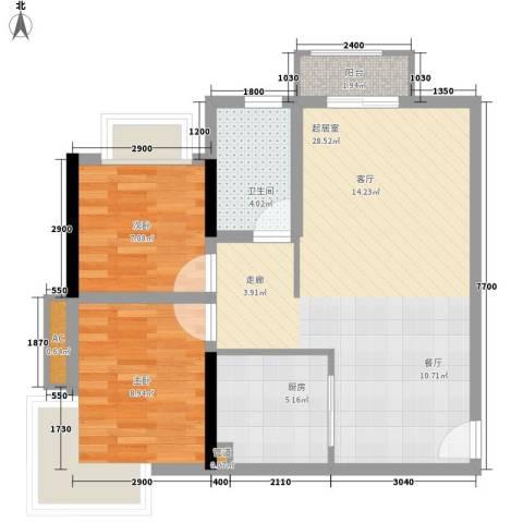 麒麟郡2室0厅1卫1厨80.00㎡户型图