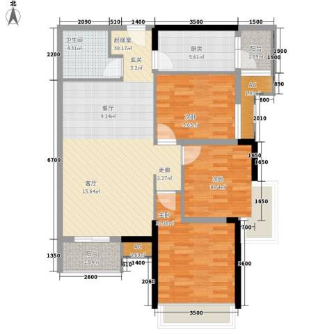 麒麟郡3室0厅1卫1厨103.00㎡户型图