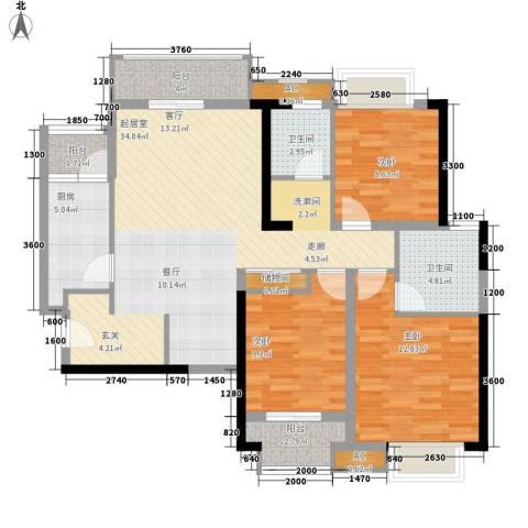 麒麟郡3室0厅2卫1厨123.00㎡户型图
