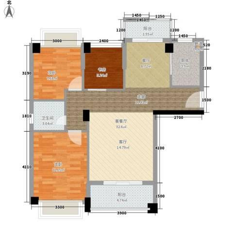 幸福里3室1厅1卫1厨92.00㎡户型图