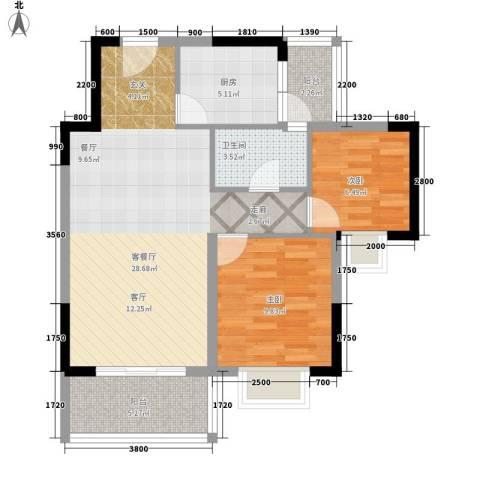 海尚绿洲2室1厅1卫1厨78.00㎡户型图