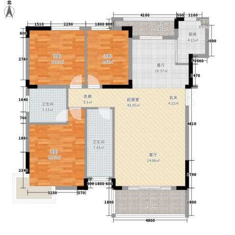 大汉汉园3室0厅2卫1厨153.00㎡户型图