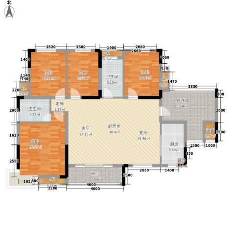 大汉汉园4室0厅2卫1厨175.00㎡户型图