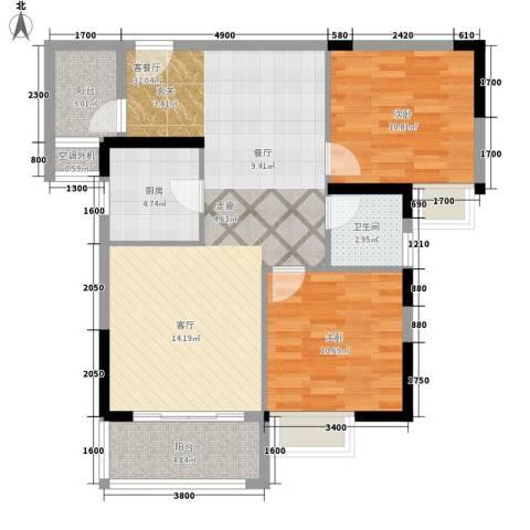 水岸・新城2室1厅1卫1厨91.00㎡户型图