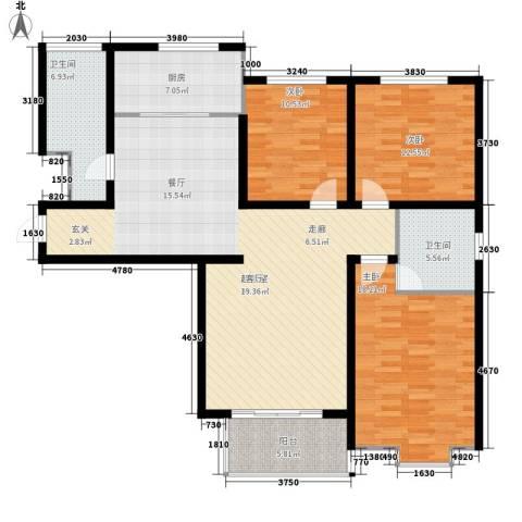 鲁港新村3室0厅2卫1厨156.00㎡户型图
