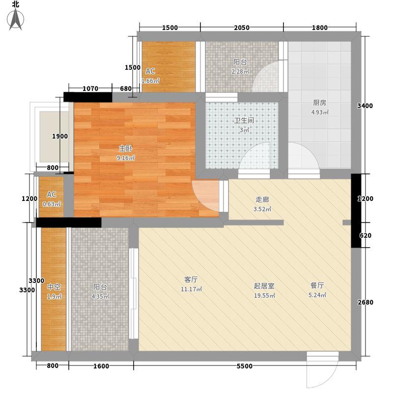 融创嘉德领馆54.39㎡一期1号楼标准层C3户型