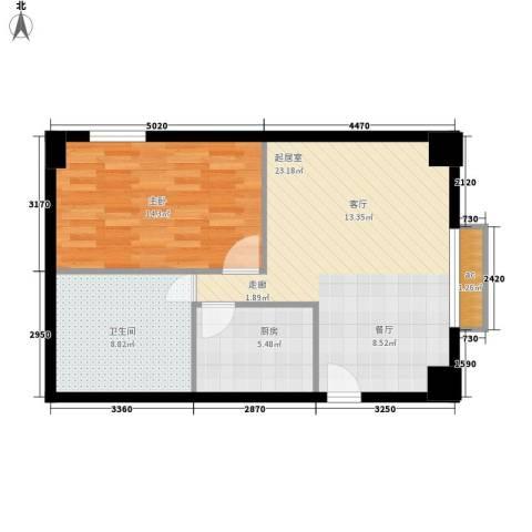 中华大厦1室0厅1卫1厨60.00㎡户型图