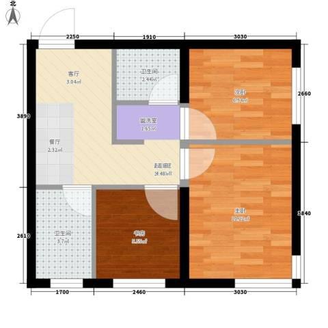 万晟御水湾3室0厅2卫0厨63.00㎡户型图