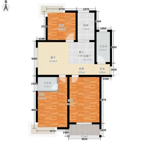爱琴海花园3室1厅2卫1厨154.00㎡户型图
