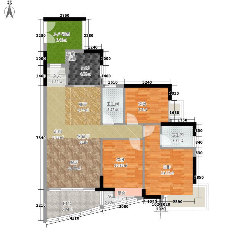 富力现代广场114.54㎡G6-05单元面积11454m户型