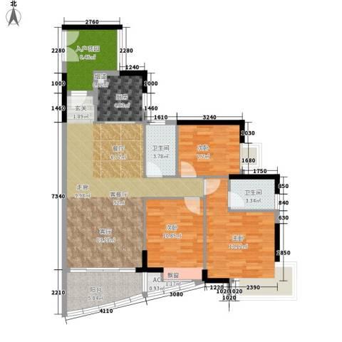 富力现代广场3室1厅2卫1厨115.00㎡户型图