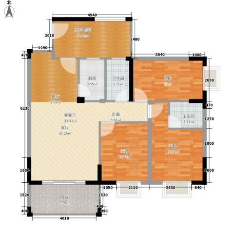 江南豪苑3室1厅2卫1厨136.00㎡户型图