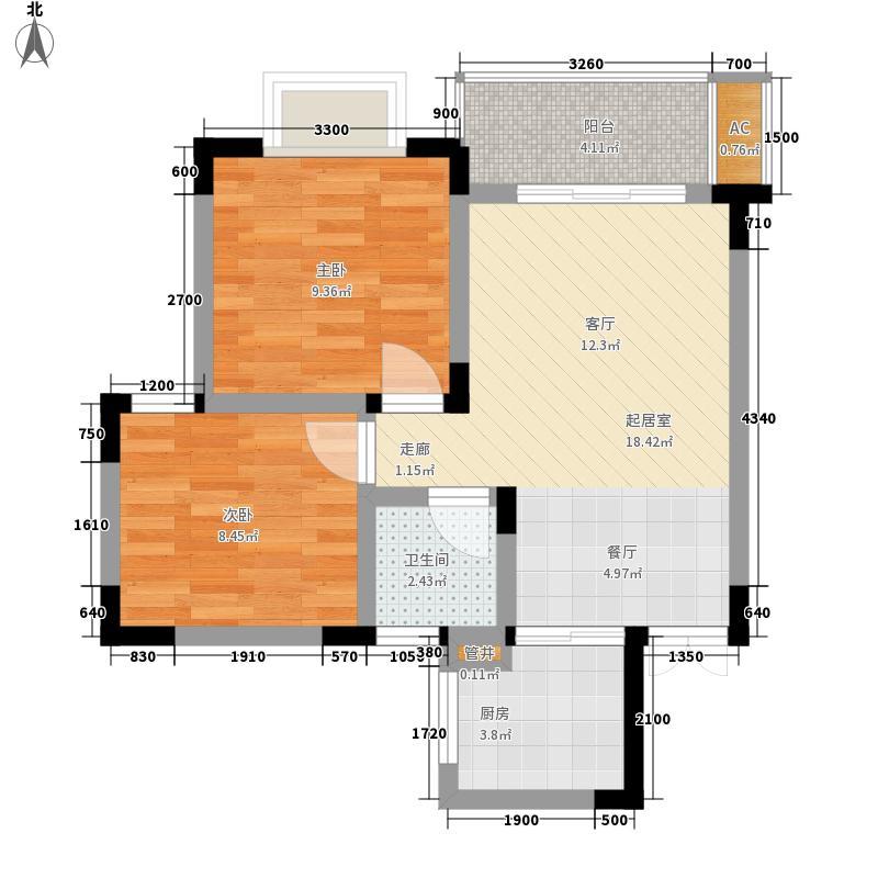 逸品森香52.38㎡一期1号楼标准层A户型