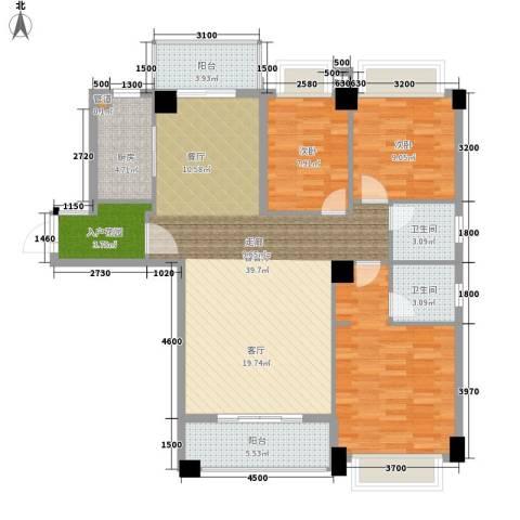 幸福里3室1厅2卫1厨136.00㎡户型图